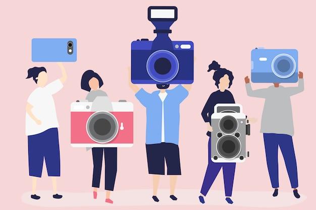 Ilustração de personagens de fotógrafos com câmeras