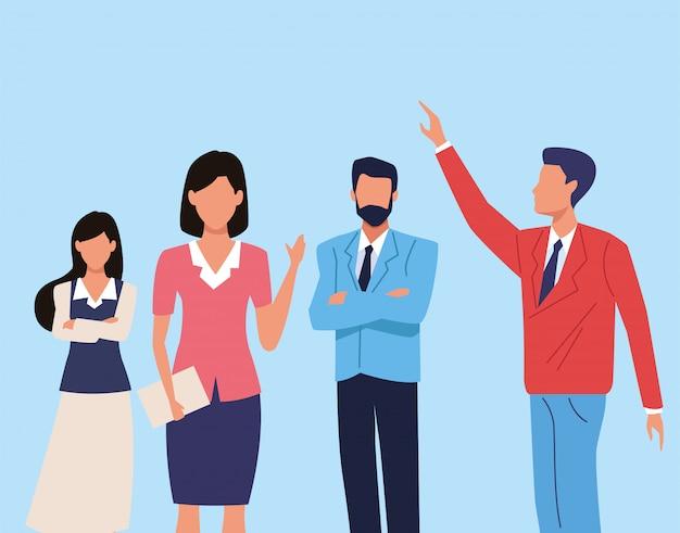 Ilustração de personagens de grupo de executivos em equipe