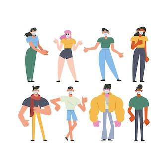 Ilustração de personagens de grupo de oito jovens usando máscaras médicas