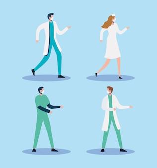 Ilustração de personagens de grupos de médicos usando máscaras médicas