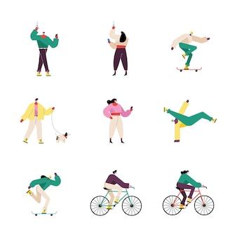 Ilustração de personagens de grupos de nove pessoas usando máscaras médicas
