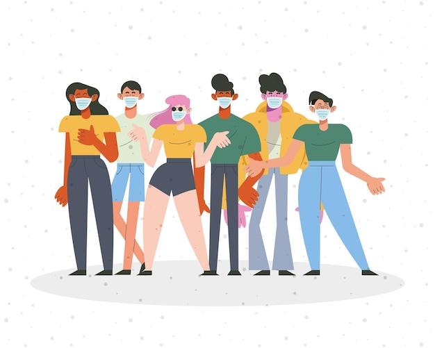 Ilustração de personagens de grupos de seis pessoas usando máscaras médicas