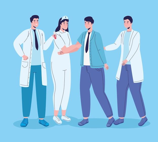 Ilustração de personagens de grupos de trabalhadores da equipe médica