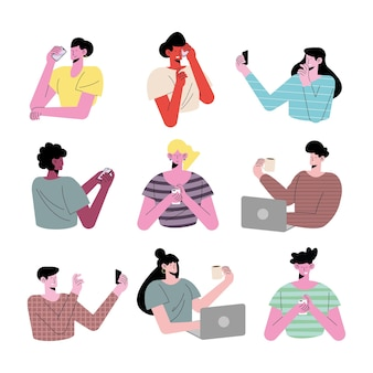 Ilustração de personagens de jovens nove pessoas usando avatares de tecnologia