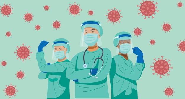 Ilustração de personagens de médicos e enfermeiras usando máscaras, lutando contra o vírus.