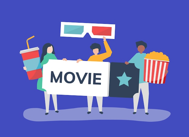 Ilustração de personagens de pessoas com ícone de filmes