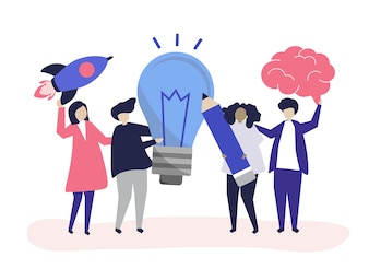 Ilustração de personagens de pessoas com ícones de idéias criativas