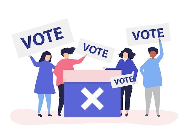 Ilustração de personagens de pessoas com ícones de voto