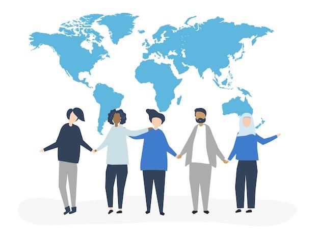 Ilustração de personagens de pessoas com um mapa do mundo