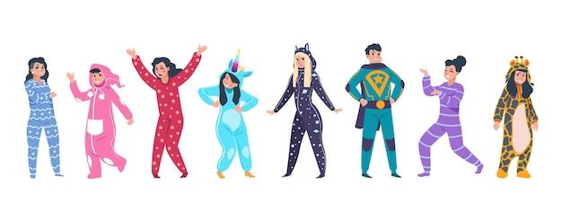 Ilustração de personagens de pijama