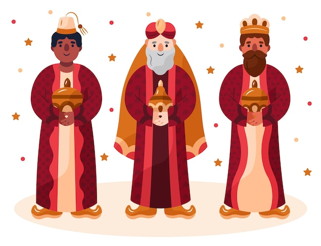 Ilustração de personagens de reyes magos desenhada à mão