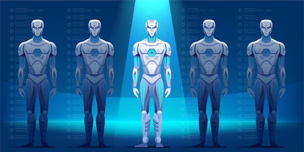 Ilustração de personagens de robôs
