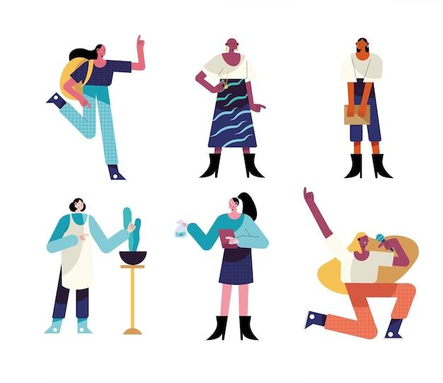 Ilustração de personagens de seis mulheres com profissões diferentes Vetor Premium