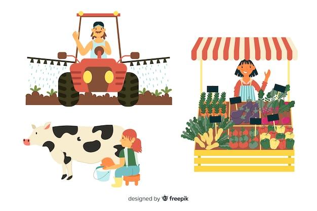 Ilustração de personagens de trabalhadores trabalhando