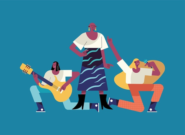 Ilustração de personagens de três garotas com profissões diferentes
