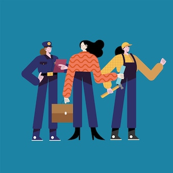 Ilustração de personagens de três mulheres com profissões diferentes
