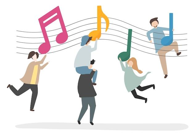 Ilustração de personagens e notas musicais