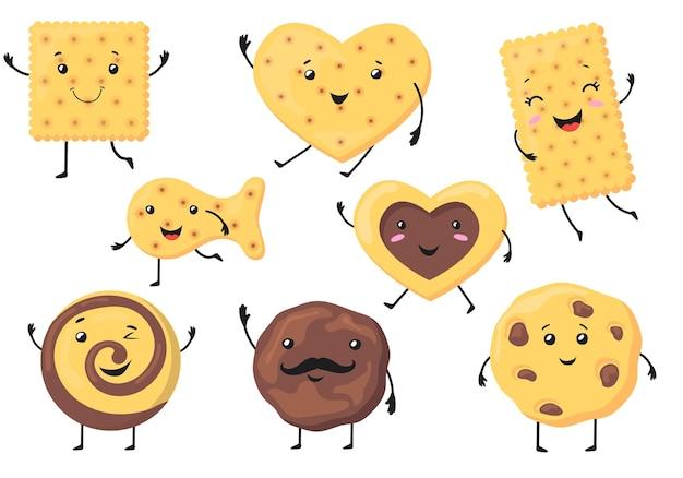 Ilustração de personagens fofinhos de biscoito