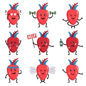 Ilustração de personagens fofinhos de coração