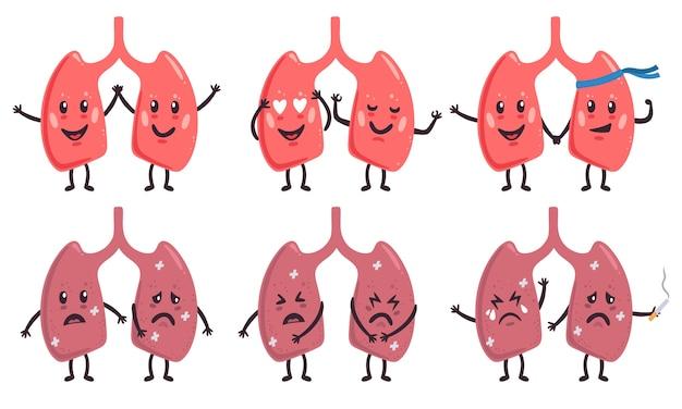 Ilustração de personagens fofinhos de pulmão