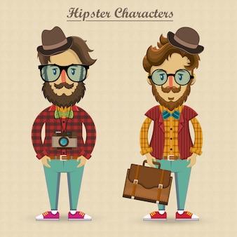 Ilustração de personagens hipster