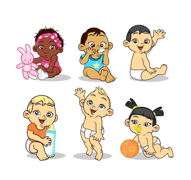 Ilustração de personagens infantis de desenhos animados de bebê fofo