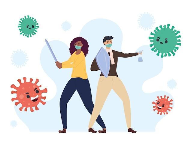 Ilustração de personagens inter-raciais lutando contra partículas