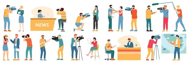 Ilustração de personagens jornalistas