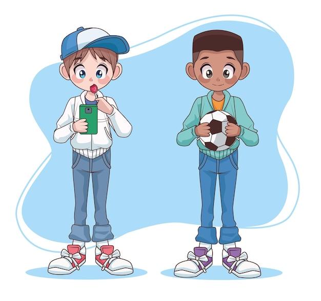Ilustração de personagens jovens adolescentes inter-raciais casal meninos crianças