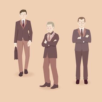 Ilustração de personagens masculinos em roupas formais com o tema marrom marrom