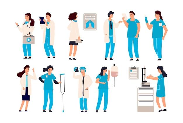 Ilustração de personagens médicos