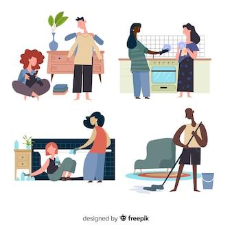 Ilustração de personagens minimalistas, fazendo o conjunto de tarefas domésticas