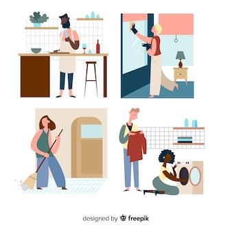 Ilustração de personagens minimalistas, fazendo o trabalho doméstico