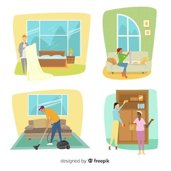 Ilustração de personagens minimalistas, fazendo trabalhos domésticos