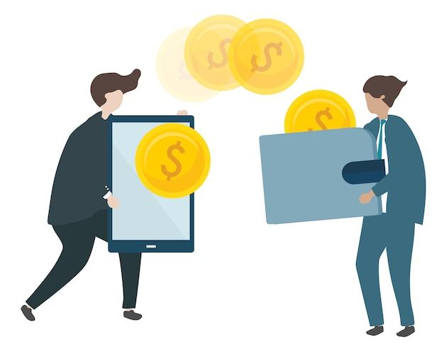 Ilustração de personagens transacionando dinheiro