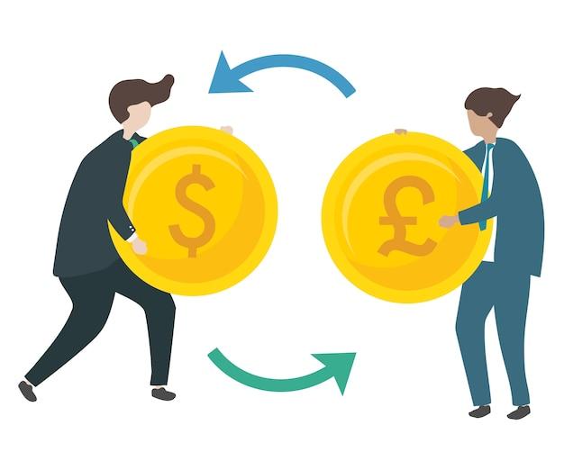 Ilustração de personagens trocando moeda