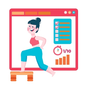 Ilustração de personal trainer on-line
