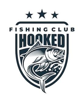 Ilustração de pesca com anzol e cordões soltos adequados para logotipos e impressão de camisetas