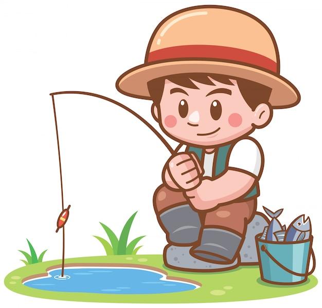 Ilustração de pesca de menino dos desenhos animados
