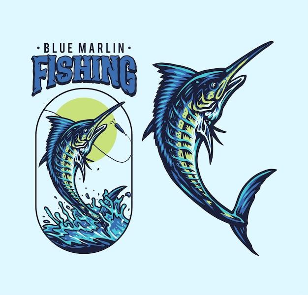 Ilustração de pesca do marlin azul