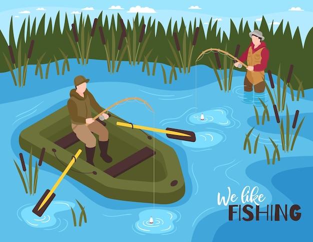 Ilustração de pesca isométrica