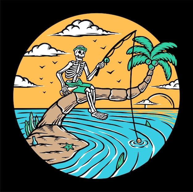 Ilustração de pesca no mar