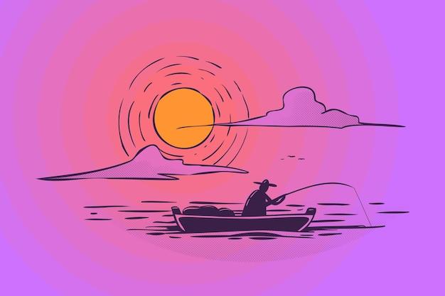 Ilustração de pescador vintage desenhada à mão navegando ao amanhecer