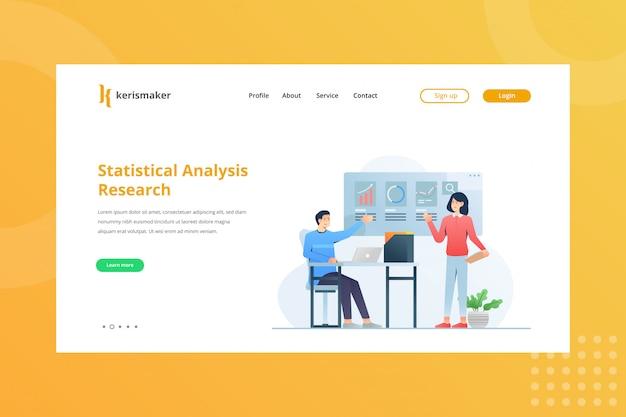 Ilustração de pesquisa de análise estatística para o conceito de gestão de negócios na página inicial