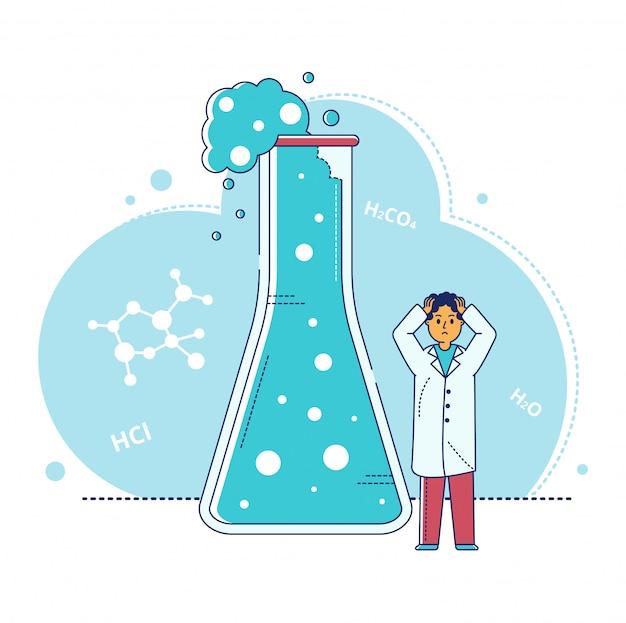 Ilustração de pesquisa de laboratório de linha, personagem de desenho animado cientista minúsculo fazendo teste de experimento em tubo de ensaio em branco
