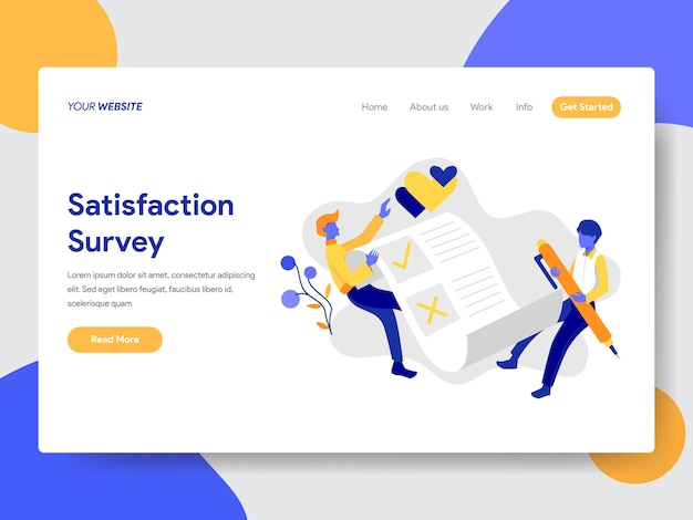 Ilustração de pesquisa de satisfação para a página da web