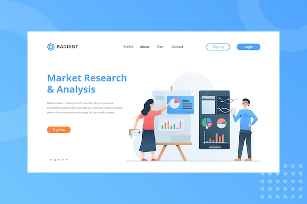 Ilustração de pesquisa e análise de mercado para o conceito de comércio eletrônico na página inicial