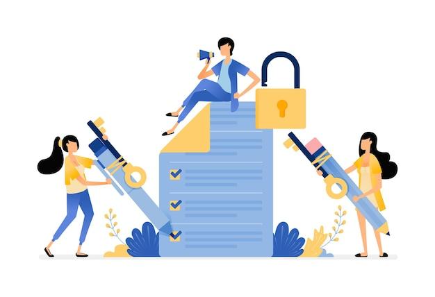 Ilustração de pesquisa e exame de segurança