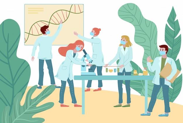 Ilustração de pesquisa médica de antivírus de coronavírus, equipe de médicos de pessoas trabalhando laboratório de ciências.