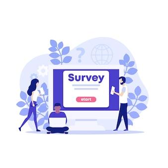 Ilustração de pesquisa online com pessoas